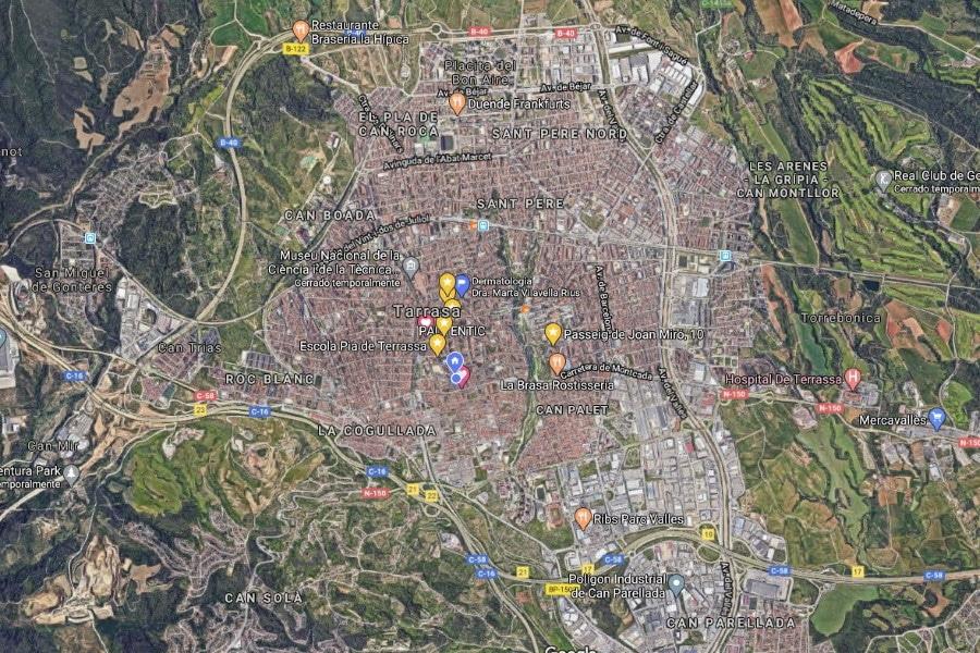 Mapa de Terrassa. Vista aérea